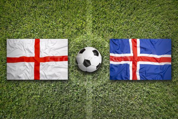 Anglia vs Izland zászlók futballpálya zöld Stock fotó © kb-photodesign