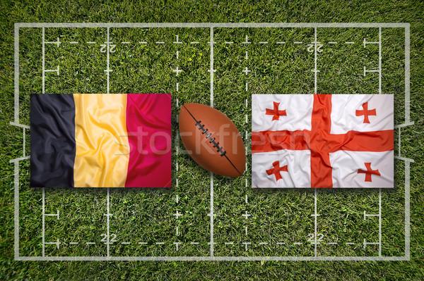 Vs banderas rugby campo verde hierba Foto stock © kb-photodesign