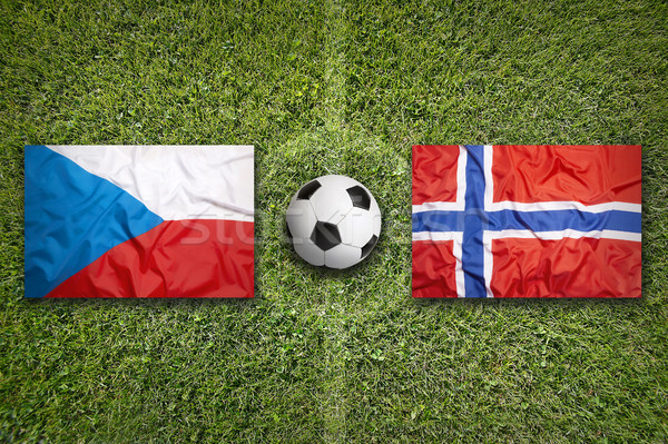 Czech Republic vs. Norway flags on soccer field Stock photo © kb-photodesign