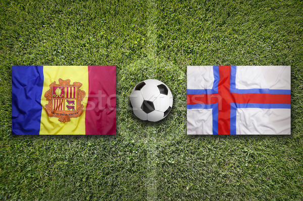 Andorra vs eilanden vlaggen voetbalveld groene Stockfoto © kb-photodesign