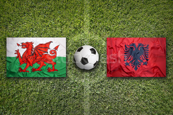 Wales vs. Albania flags on soccer field Stock photo © kb-photodesign
