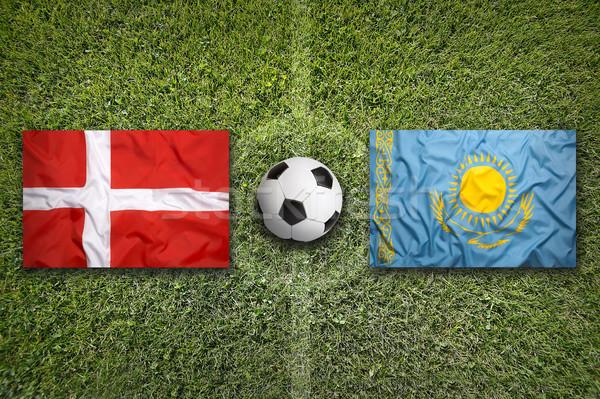 Дания против Казахстан флагами футбольное поле зеленый Сток-фото © kb-photodesign