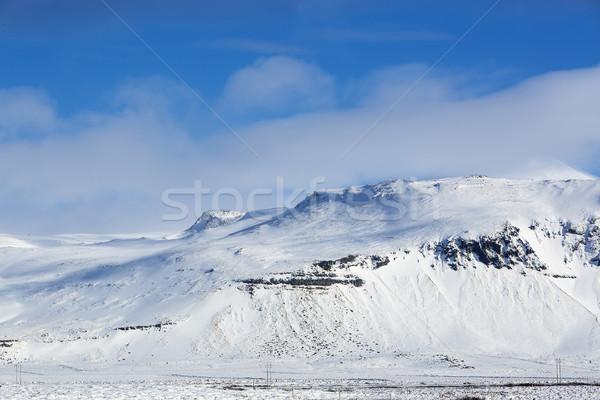 Berg landschap IJsland schiereiland wolken sneeuw Stockfoto © kb-photodesign