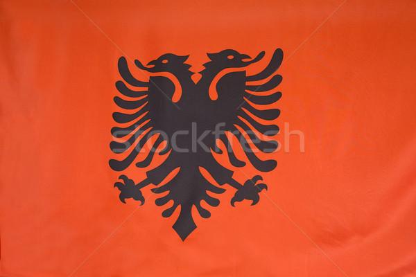 Closeup of flag of Albania Stock photo © kb-photodesign