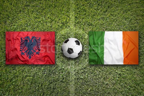 Albánia vs Írország zászlók futballpálya zöld Stock fotó © kb-photodesign