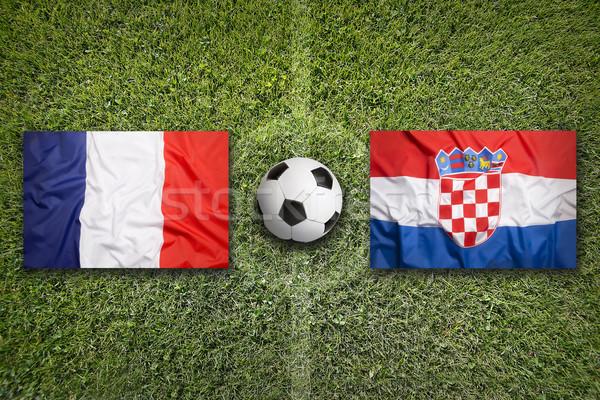 Franciaország vs Horvátország zászlók futballpálya zöld Stock fotó © kb-photodesign