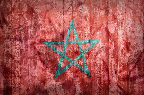 Grunge stijl Marokko vlag muur achtergrond Stockfoto © kb-photodesign