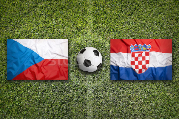 Czech Republic vs. Croatia flags on soccer field Stock photo © kb-photodesign