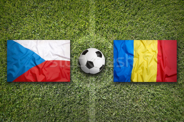 Czech Republic vs. Romania flags on soccer field Stock photo © kb-photodesign