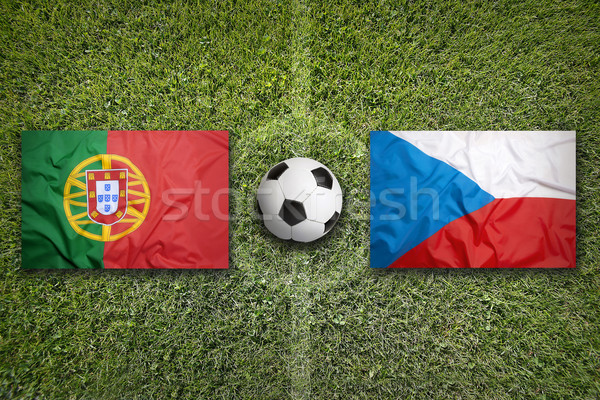 Portugal vs. Czech Republic flags on soccer field Stock photo © kb-photodesign