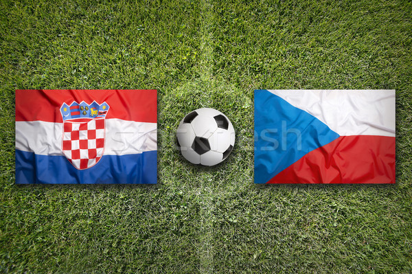 Stock photo: Croatia vs. Czech Republic flags on soccer field