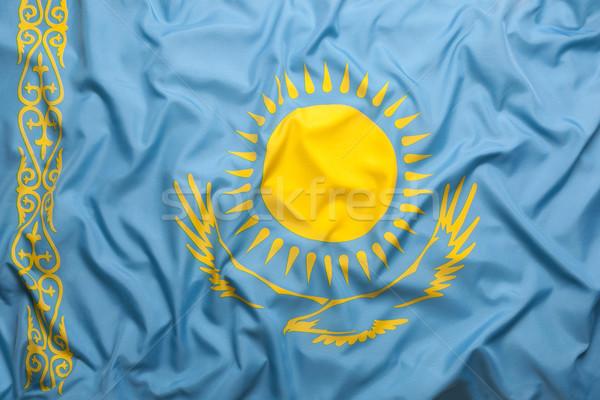 текстильной флаг Казахстан знак синий Сток-фото © kb-photodesign