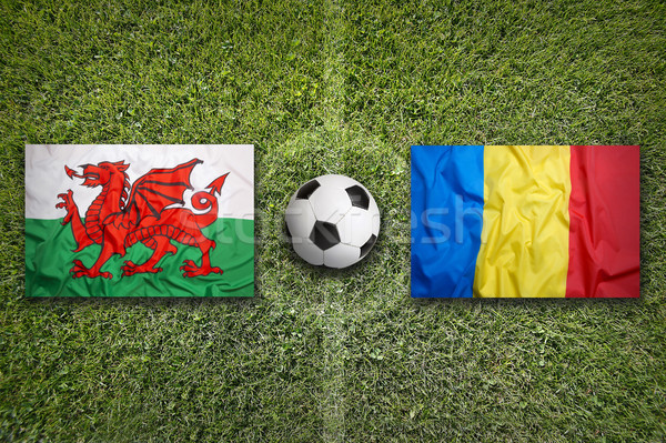 Wales vs. Romania flags on soccer field Stock photo © kb-photodesign