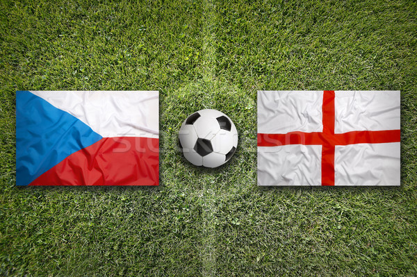 Czech Republic vs. England flags on soccer field Stock photo © kb-photodesign