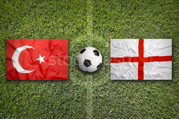 Turkey vs. England flags on soccer field Stock photo © kb-photodesign
