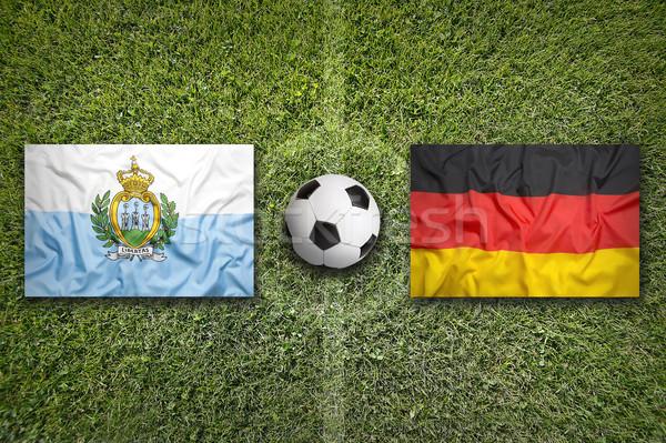 San Marino vs Almanya bayraklar futbol sahası yeşil Stok fotoğraf © kb-photodesign