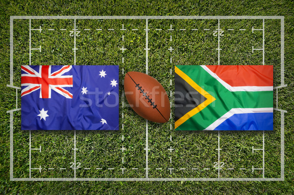 Vs Süden Afrika Fahnen grünen Rugby Stock foto © kb-photodesign