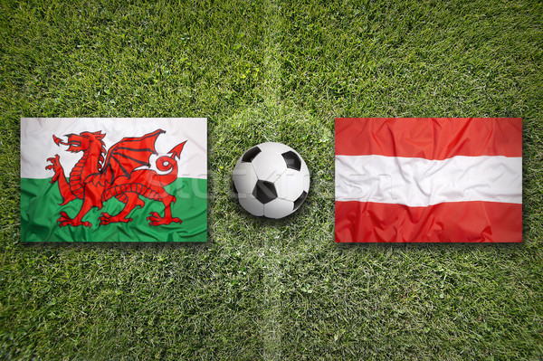 Wales vs. Austria flags on soccer field Stock photo © kb-photodesign