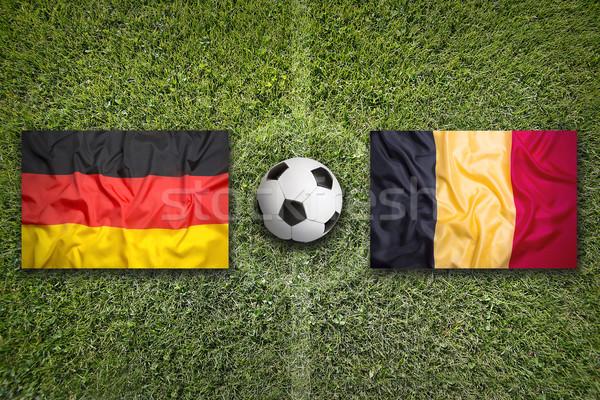 Almanya vs Belçika bayraklar futbol sahası yeşil Stok fotoğraf © kb-photodesign