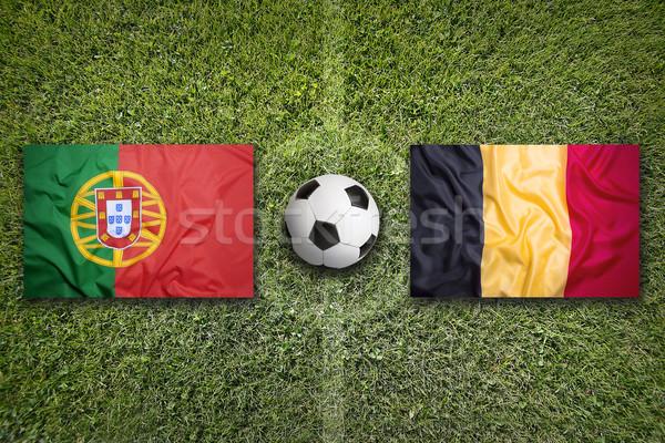 Portekiz vs Belçika bayraklar futbol sahası yeşil Stok fotoğraf © kb-photodesign
