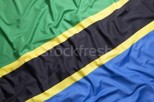 текстильной флаг Танзания фон черный стране Сток-фото © kb-photodesign