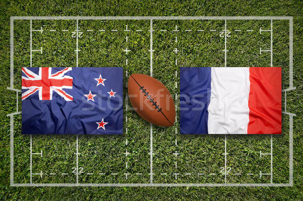 Vs escócia novo bandeiras rugby verde Foto stock © kb-photodesign