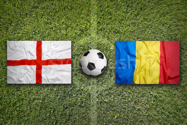 England vs. Romania flags on soccer field Stock photo © kb-photodesign