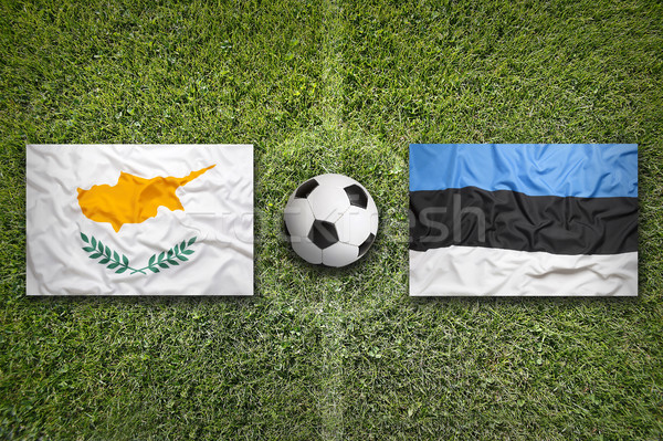 Cyprus vs. Estonia flags on soccer field Stock photo © kb-photodesign