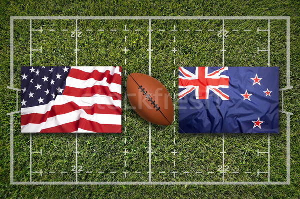 USA vs. New Zealand flags on rugby field Stock photo © kb-photodesign