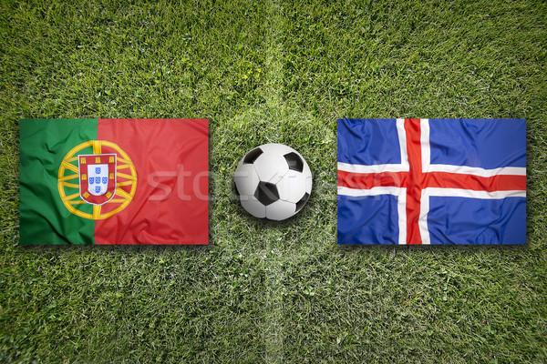 Portugália vs Izland zászlók futballpálya zöld Stock fotó © kb-photodesign