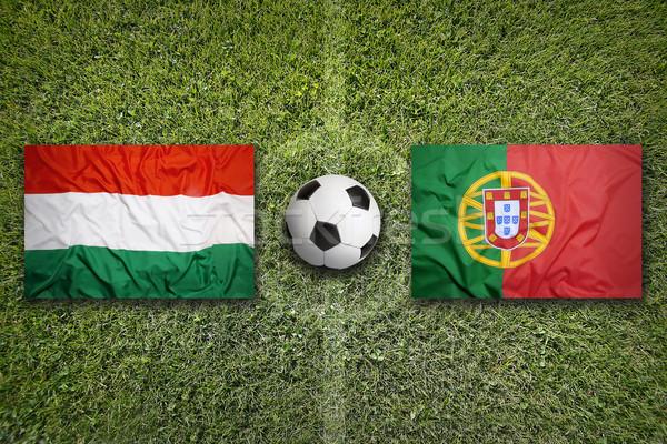 Magyarország vs Portugália futballpálya zászlók zöld Stock fotó © kb-photodesign