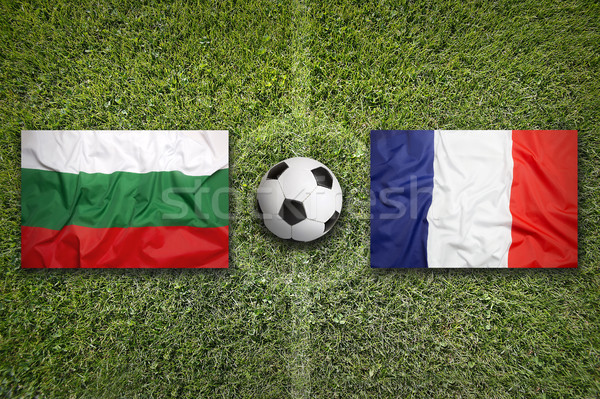 Bulgaria vs. France flags on soccer field Stock photo © kb-photodesign