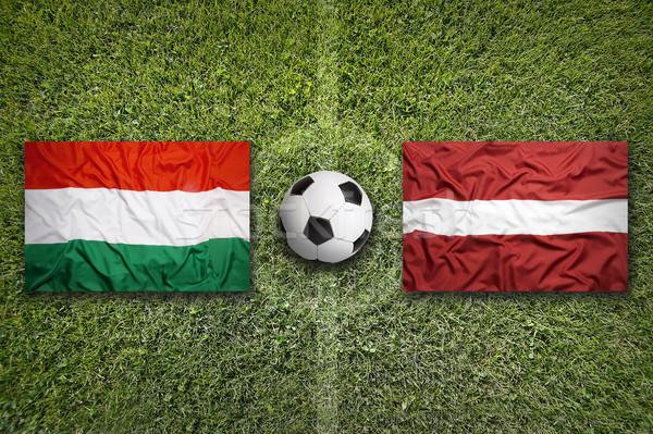 Венгрия против Латвия флагами футбольное поле зеленый Сток-фото © kb-photodesign