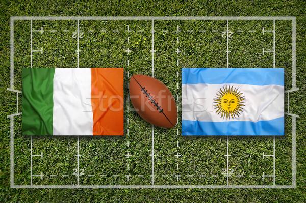 Vs Écosse drapeaux vert rugby domaine Photo stock © kb-photodesign