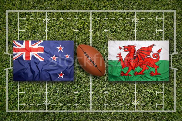 Ireland vs. ScotlandNew Zealand vs. Wales flags on rugby field Stock photo © kb-photodesign