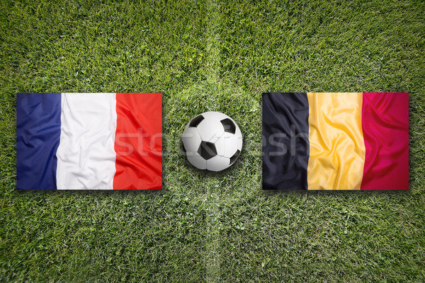 France vs. Belgium flags on soccer field Stock photo © kb-photodesign