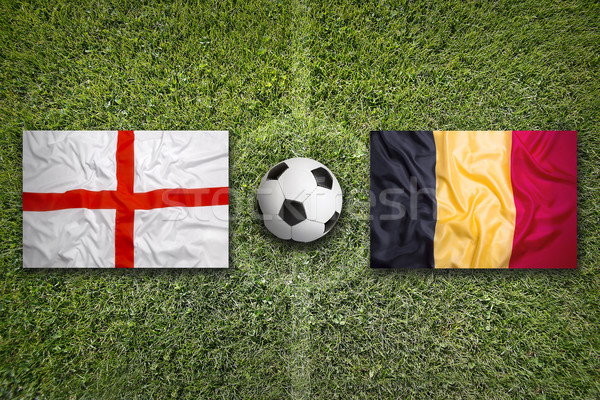 England vs. Belgium flags on soccer field Stock photo © kb-photodesign