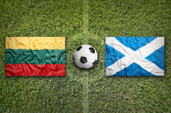 Lithuania vs. Scotland flags on soccer field Stock photo © kb-photodesign