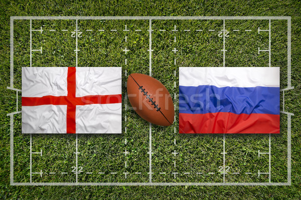 Inglaterra vs bandeiras rugby campo verde Foto stock © kb-photodesign