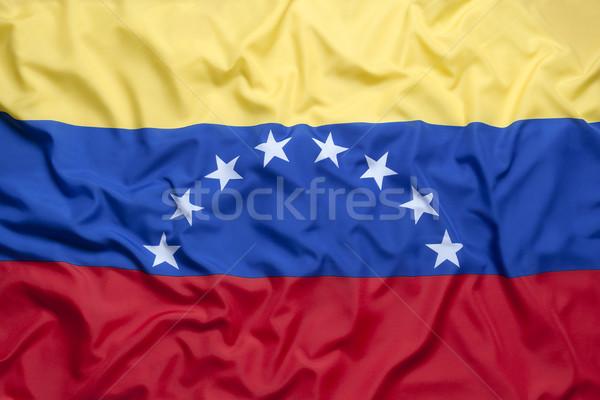 Tekstil bayrak Venezuela arka plan mavi kırmızı Stok fotoğraf © kb-photodesign