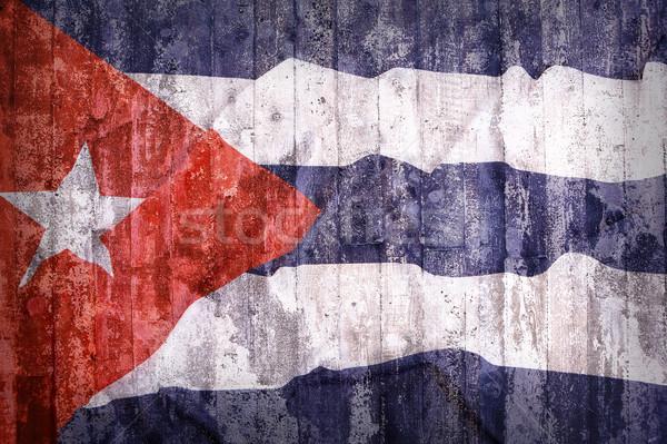 Grunge stílus Kuba zászló téglafal háttér Stock fotó © kb-photodesign