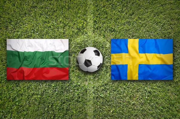 Bulgária vs Svédország zászlók futballpálya zöld Stock fotó © kb-photodesign