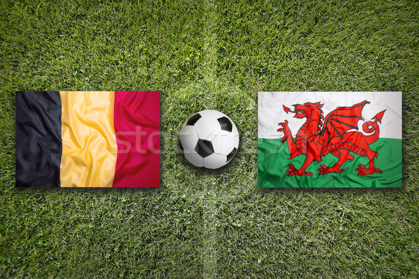 Belgium vs. Wales flags on soccer field Stock photo © kb-photodesign