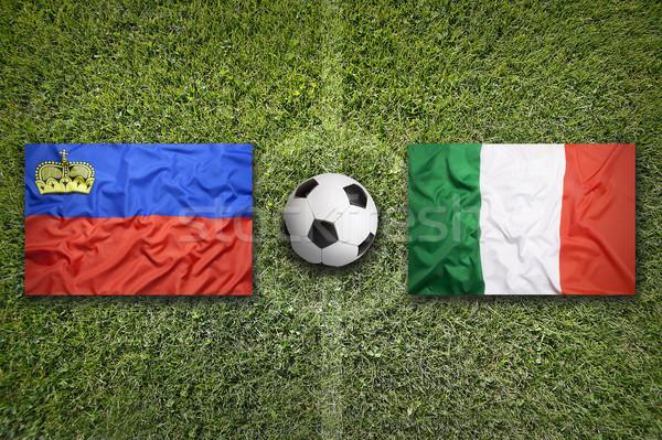 Liechtenstein vs Olaszország zászlók futballpálya zöld Stock fotó © kb-photodesign