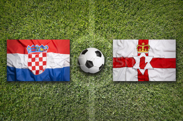Croatia vs. Northern Ireland flags on soccer field Stock photo © kb-photodesign