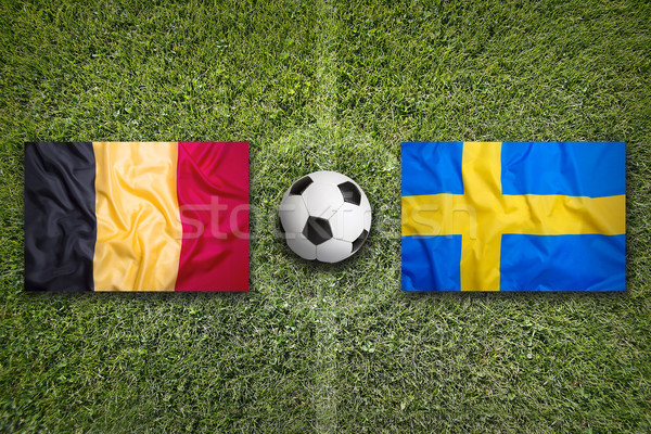 Belgium vs. Sweden flags on soccer field Stock photo © kb-photodesign