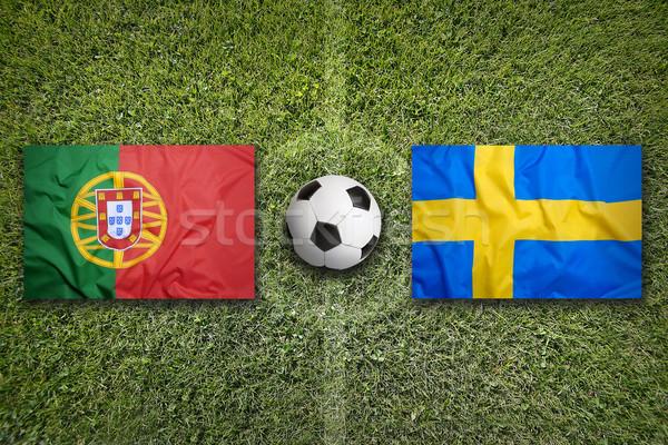 Portugália vs Svédország zászlók futballpálya zöld Stock fotó © kb-photodesign
