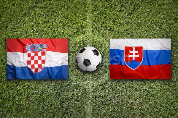 Vs bayraklar futbol sahası yeşil takım top Stok fotoğraf © kb-photodesign