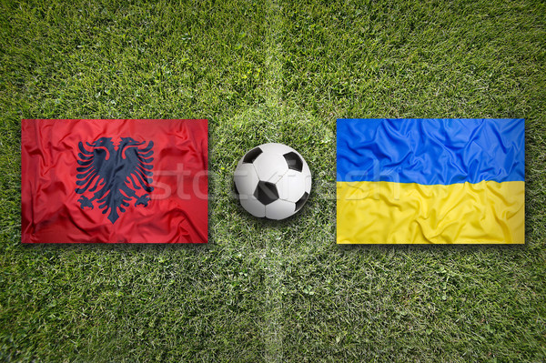 Albania vs. Ukraine flags on soccer field Stock photo © kb-photodesign