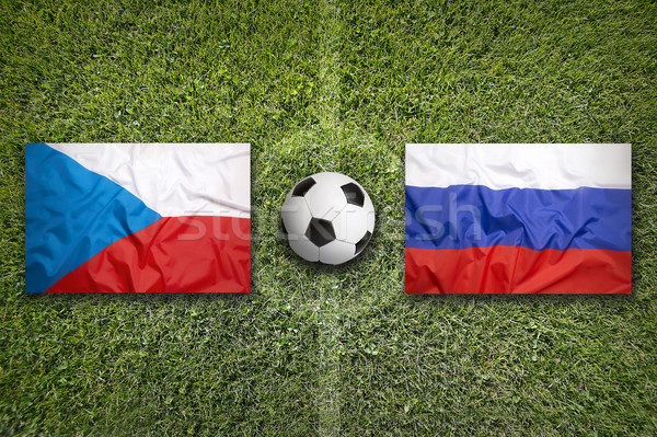 Czech Republic vs. Russia flags on soccer field Stock photo © kb-photodesign